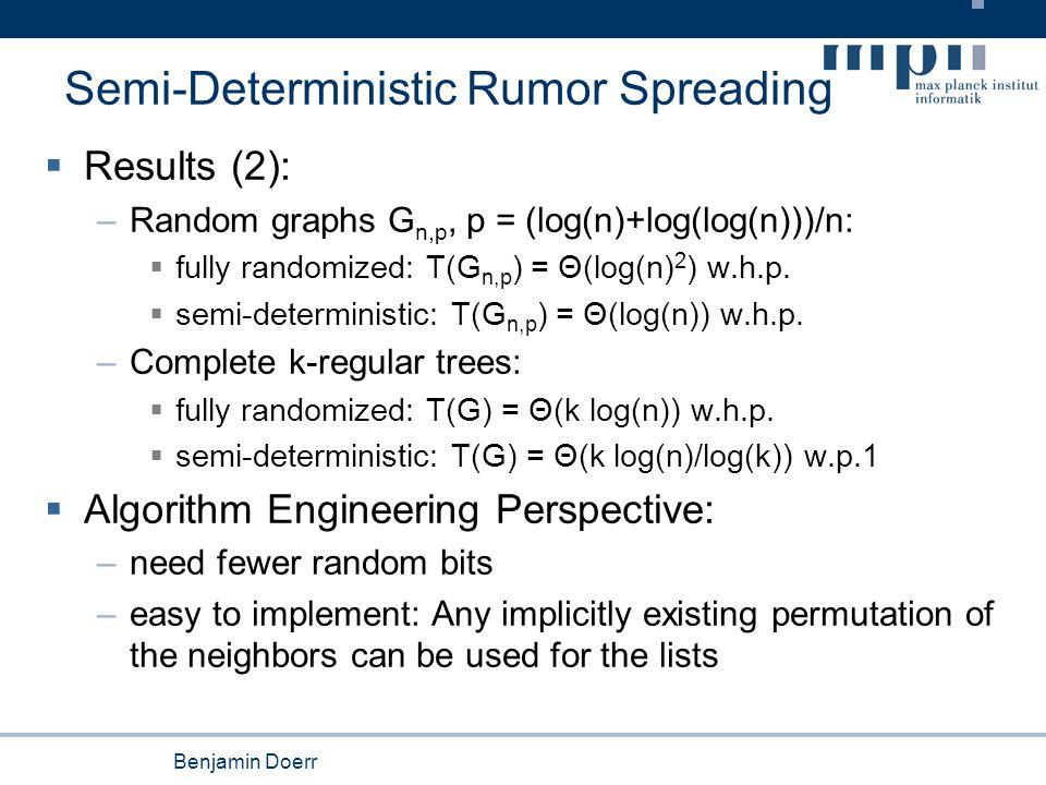 Benjamin Doerr Semi-Deterministic Rumor Spreading  Results (2): –Random graphs G n,p, p = (log(n)+log(log(n)))/n:  fully randomized: T(G n,p ) = Θ(log(n) 2 ) w.h.p.