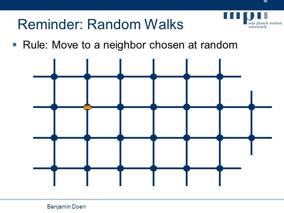 Benjamin Doerr Reminder: Random Walks  Rule: Move to a neighbor chosen at random