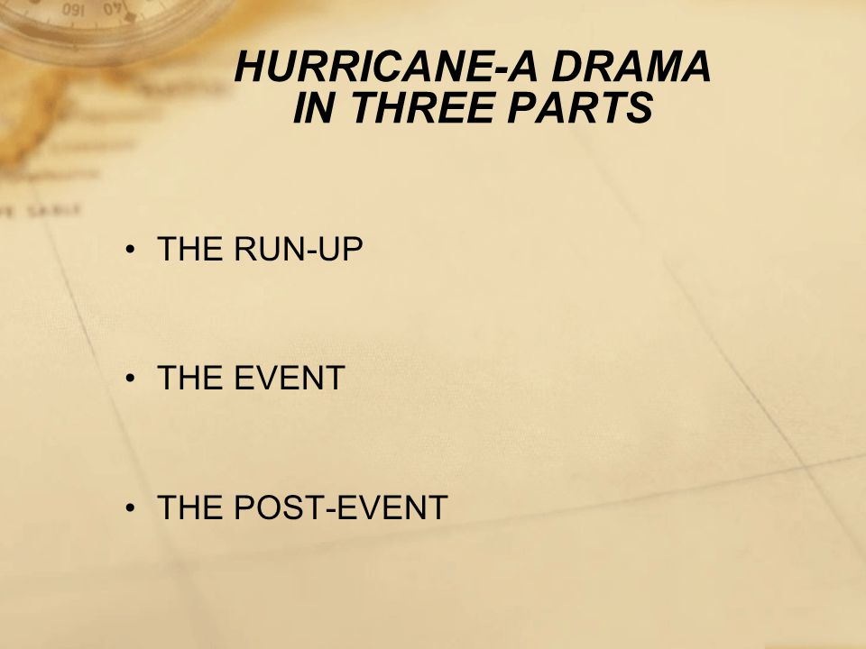 HURRICANE-A DRAMA IN THREE PARTS THE RUN-UP THE EVENT THE POST-EVENT