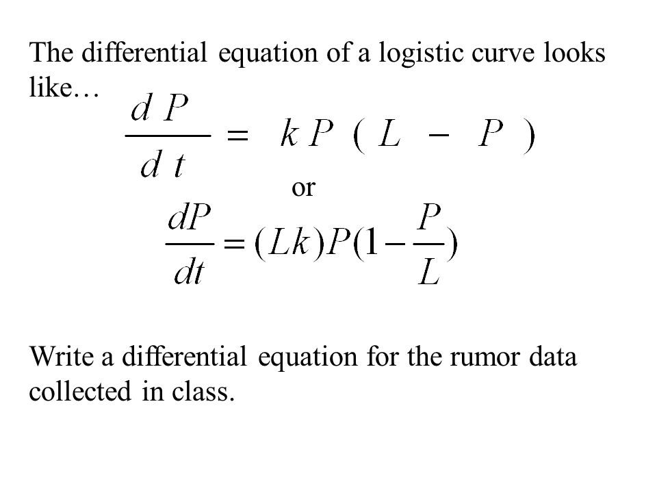 The differential equation of a logistic curve looks like… Write a differential equation for the rumor data collected in class. or