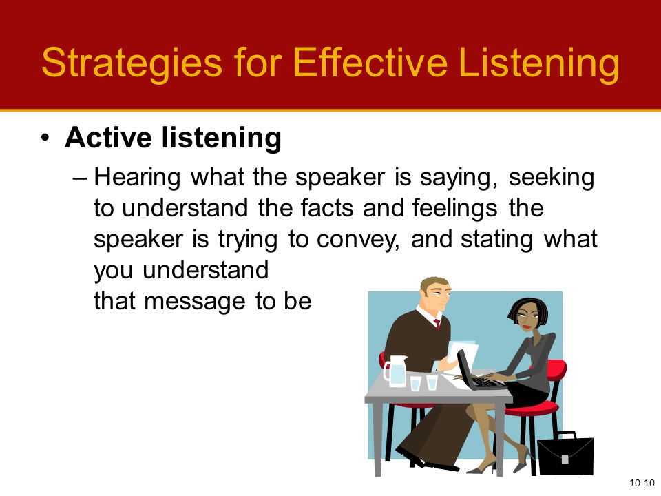 Strategies for Effective Listening Active listening –Hearing what the speaker is saying, seeking to understand the facts and feelings the speaker is trying to convey, and stating what you understand that message to be 10-10