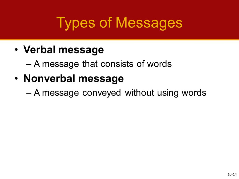 Types of Messages Verbal message –A message that consists of words Nonverbal message –A message conveyed without using words 10-14