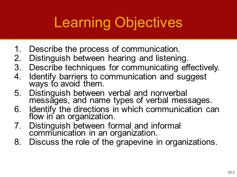 Learning Objectives 1.Describe the process of communication.