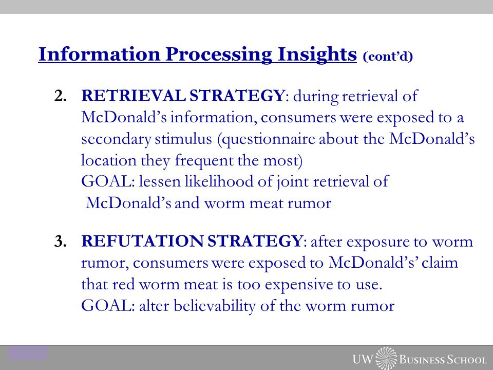 2.RETRIEVAL STRATEGY: during retrieval of McDonald's information, consumers were exposed to a secondary stimulus (questionnaire about the McDonald's location they frequent the most) GOAL: lessen likelihood of joint retrieval of McDonald's and worm meat rumor 3.REFUTATION STRATEGY: after exposure to worm rumor, consumers were exposed to McDonald's' claim that red worm meat is too expensive to use.