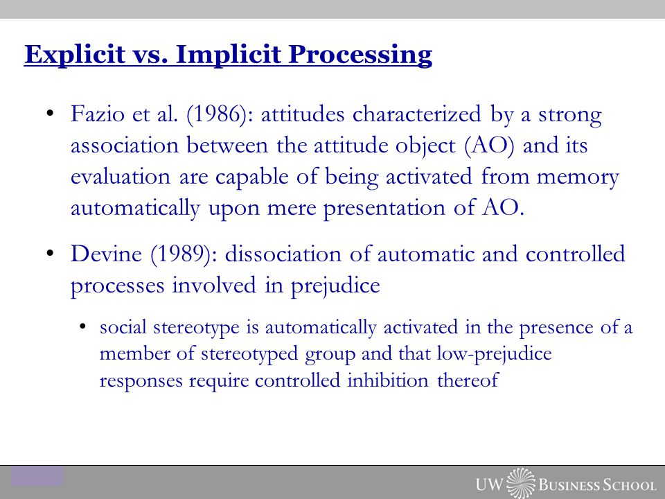 Explicit vs. Implicit Processing Fazio et al.