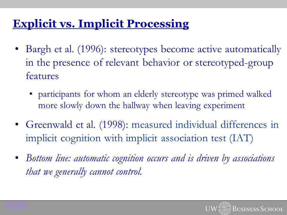 Explicit vs. Implicit Processing Bargh et al.