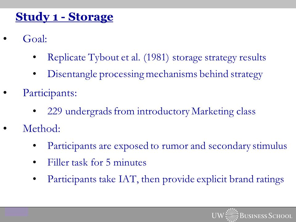 Study 1 - Storage Goal: Replicate Tybout et al. (1981) storage strategy results Disentangle processing mechanisms behind strategy Participants: 229 un