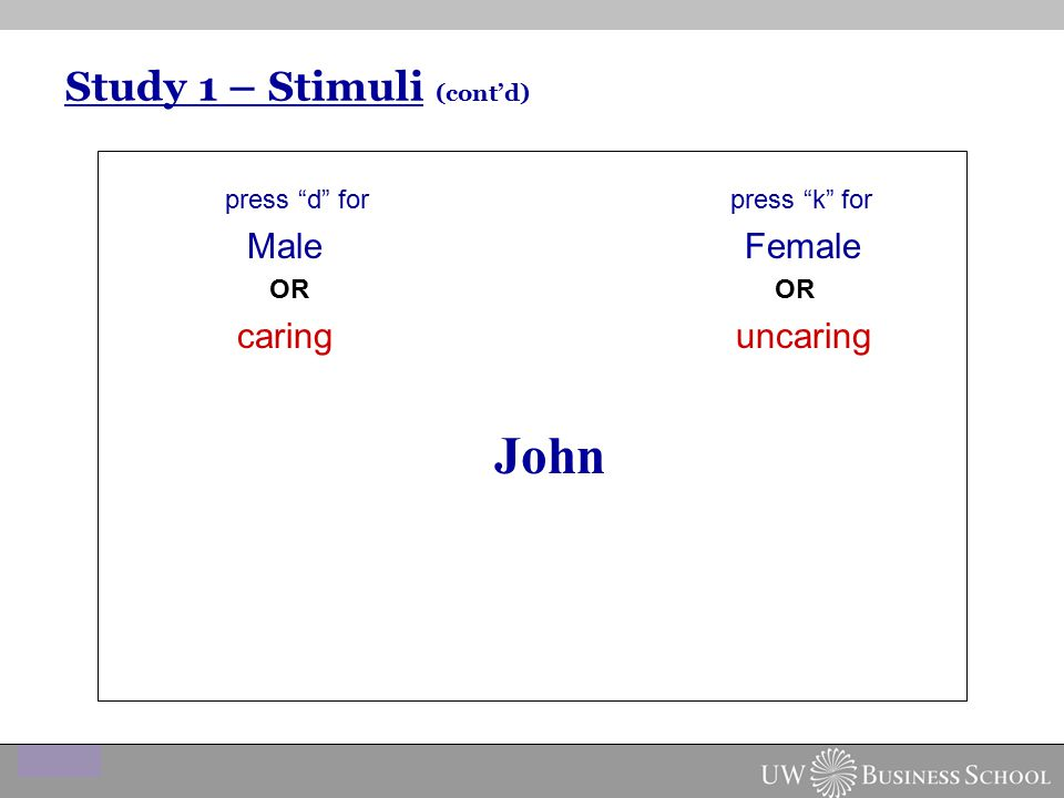 "Study 1 – Stimuli (cont'd) press ""d"" for press ""k"" for Male Female OR OR caring uncaring John"
