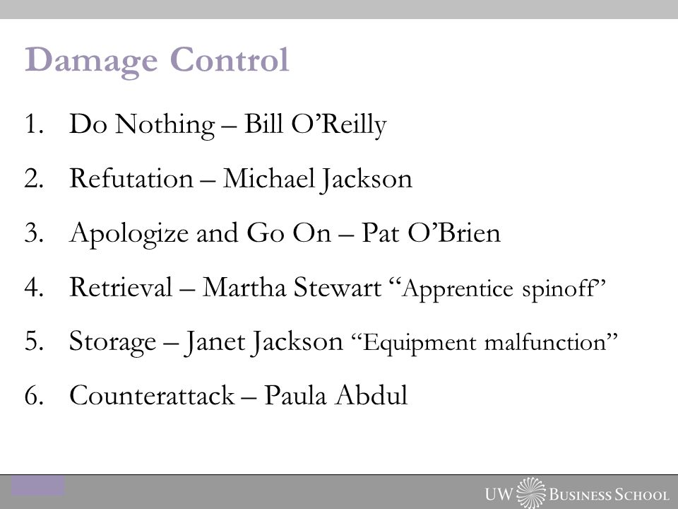 Damage Control 1.Do Nothing – Bill O'Reilly 2.Refutation – Michael Jackson 3.Apologize and Go On – Pat O'Brien 4.Retrieval – Martha Stewart Apprentice spinoff 5.Storage – Janet Jackson Equipment malfunction 6.Counterattack – Paula Abdul