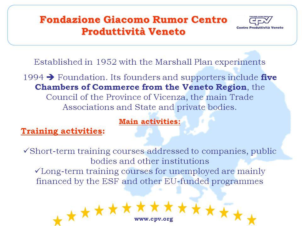 www.cpv.org Fondazione Giacomo Rumor Centro Produttività Veneto Established in 1952 with the Marshall Plan experiments 1994  Foundation.