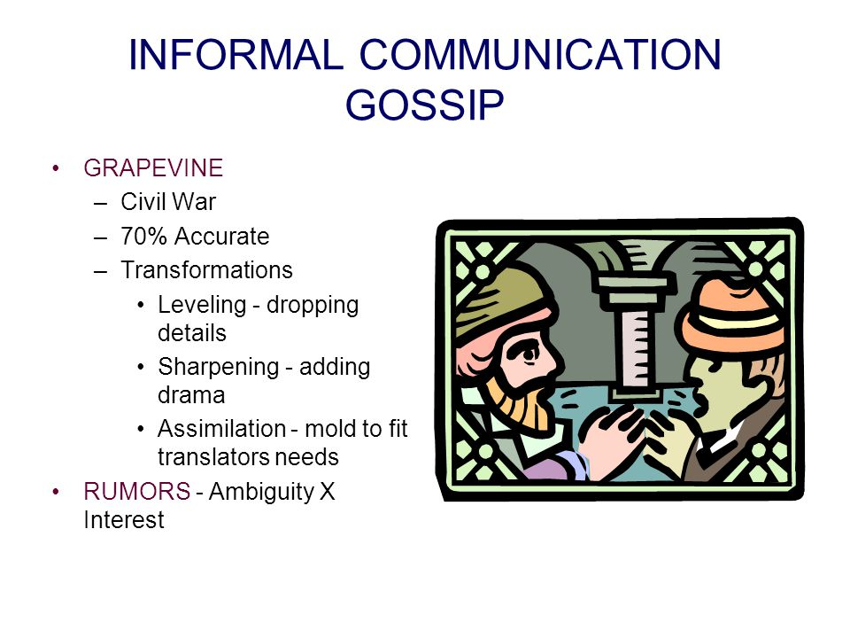INFORMAL COMMUNICATION GOSSIP GRAPEVINE –Civil War –70% Accurate –Transformations Leveling - dropping details Sharpening - adding drama Assimilation - mold to fit translators needs RUMORS - Ambiguity X Interest