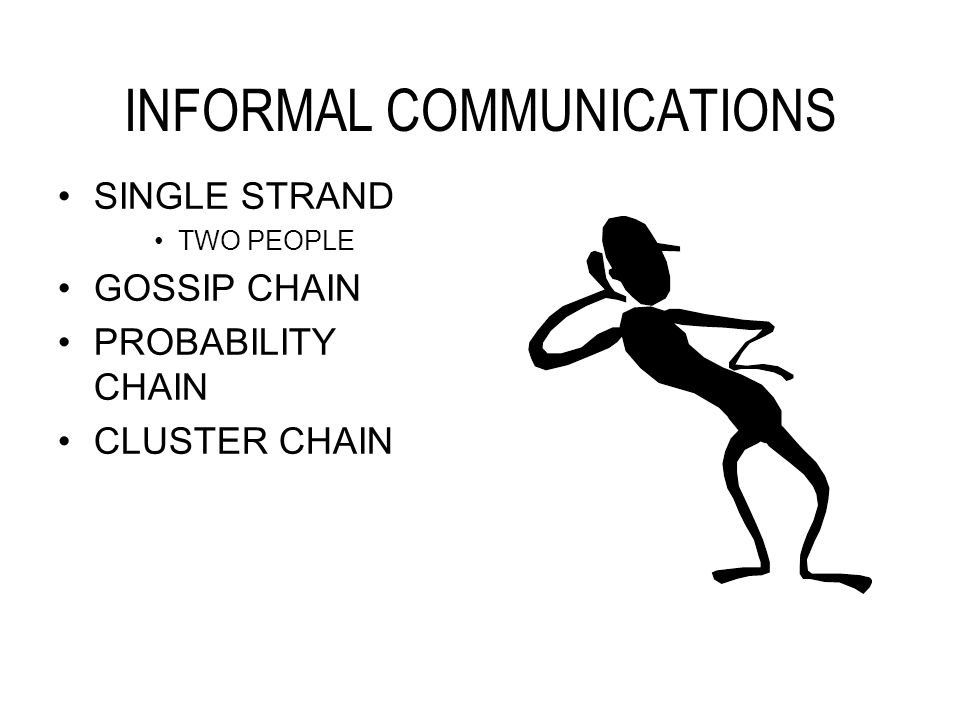 INFORMAL COMMUNICATIONS SINGLE STRAND TWO PEOPLE GOSSIP CHAIN PROBABILITY CHAIN CLUSTER CHAIN