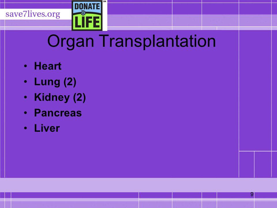 9 Organ Transplantation Heart Lung (2) Kidney (2) Pancreas Liver