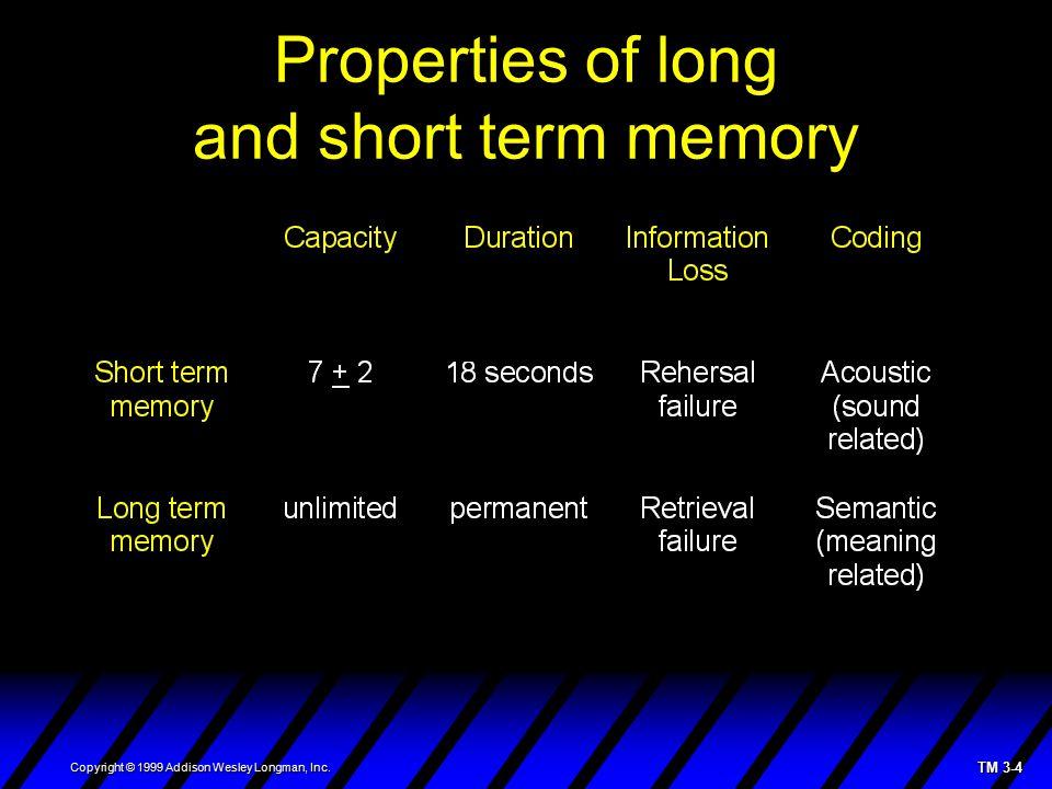 TM 3-4 Copyright © 1999 Addison Wesley Longman, Inc. Properties of long and short term memory