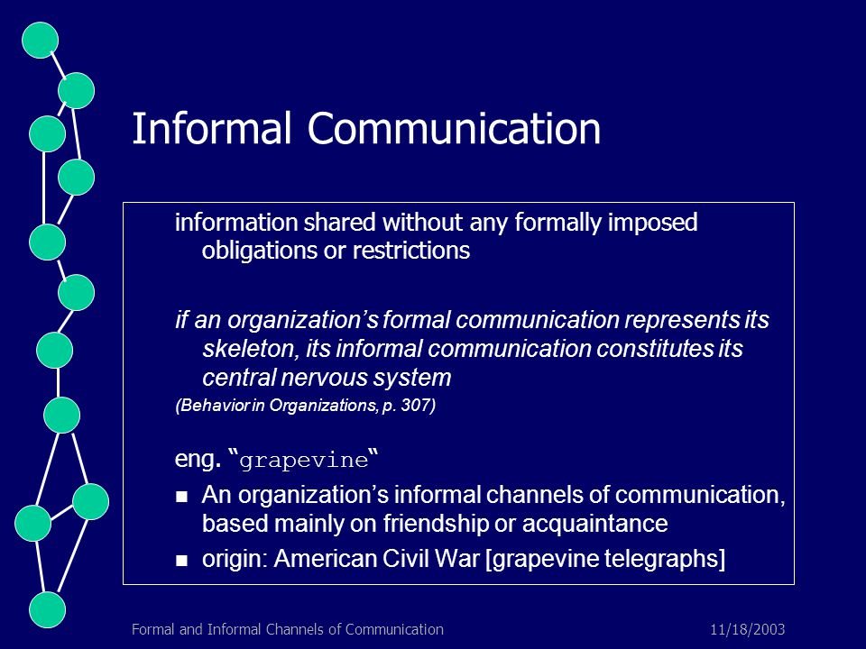 11/18/2003Formal and Informal Channels of Communication Informal Communication information shared without any formally imposed obligations or restrictions if an organization's formal communication represents its skeleton, its informal communication constitutes its central nervous system (Behavior in Organizations, p.