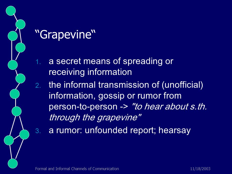 11/18/2003Formal and Informal Channels of Communication Grapevine  a secret means of spreading or receiving information  the informal transmission of (unofficial) information, gossip or rumor from person-to-person -> to hear about s.th.