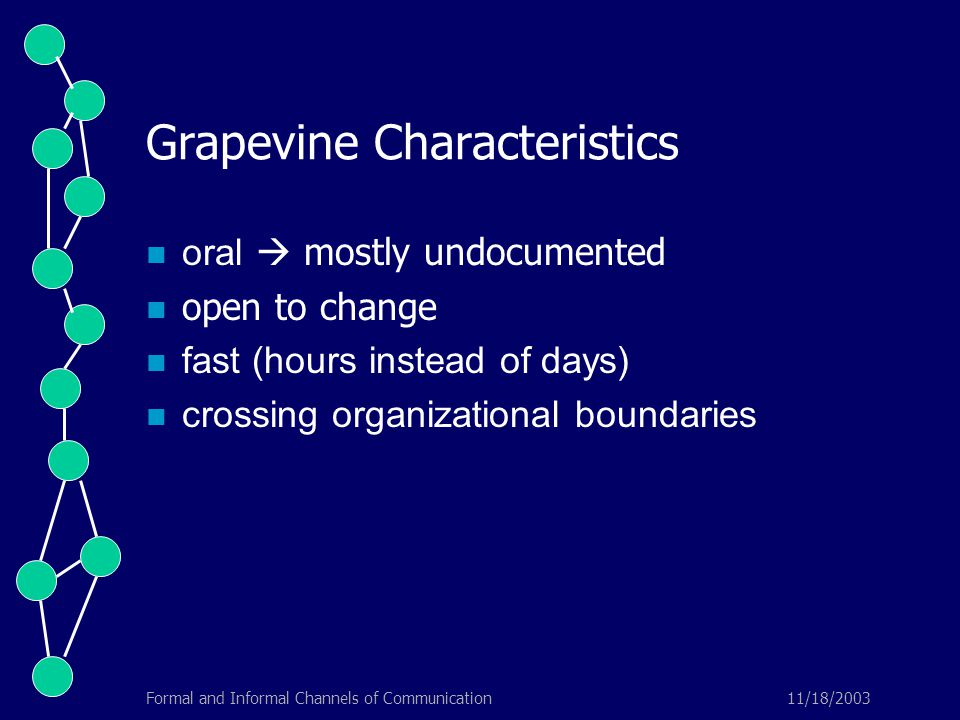11/18/2003Formal and Informal Channels of Communication Grapevine Characteristics oral  mostly undocumented open to change fast (hours instead of days) crossing organizational boundaries