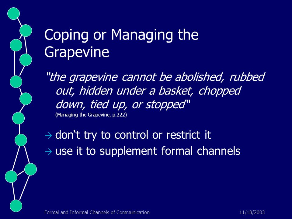 """11/18/2003Formal and Informal Channels of Communication Coping or Managing the Grapevine """"the grapevine cannot be abolished, rubbed out, hidden under"""