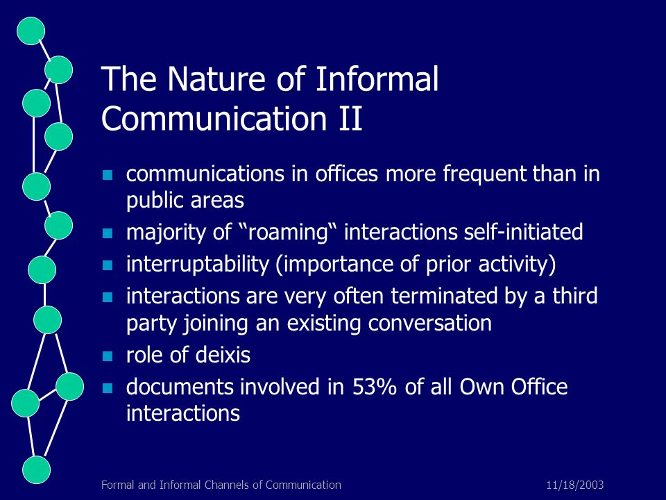 11/18/2003Formal and Informal Channels of Communication The Nature of Informal Communication II communications in offices more frequent than in public areas majority of roaming interactions self-initiated interruptability (importance of prior activity) interactions are very often terminated by a third party joining an existing conversation role of deixis documents involved in 53% of all Own Office interactions