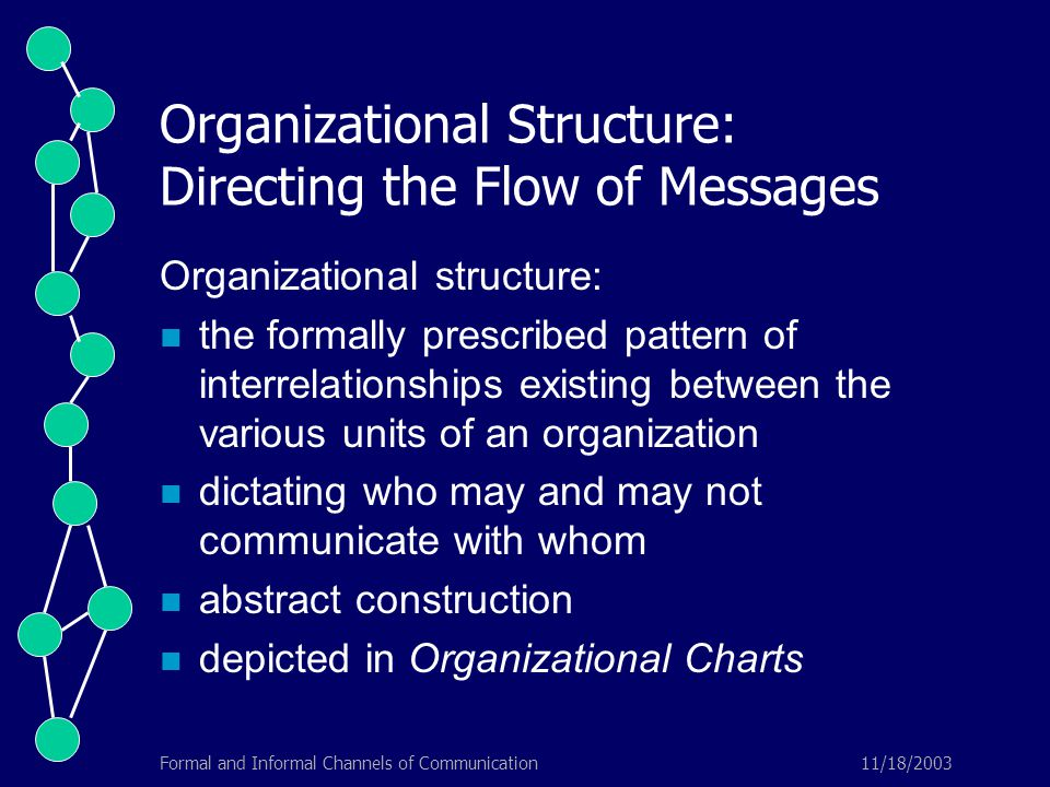 11/18/2003Formal and Informal Channels of Communication Organizational Structure: Directing the Flow of Messages Organizational structure: the formally prescribed pattern of interrelationships existing between the various units of an organization dictating who may and may not communicate with whom abstract construction depicted in Organizational Charts