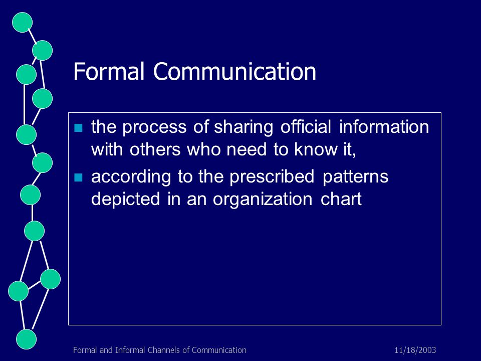 11/18/2003Formal and Informal Channels of Communication Formal Communication the process of sharing official information with others who need to know it, according to the prescribed patterns depicted in an organization chart