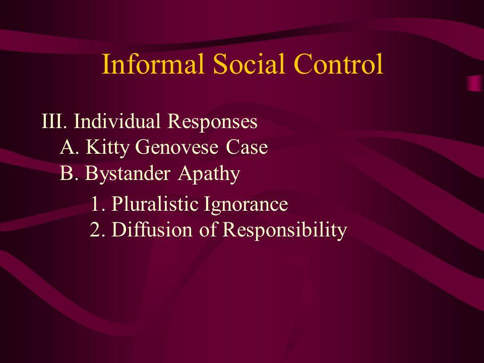 Informal Social Control III. Individual Responses A.