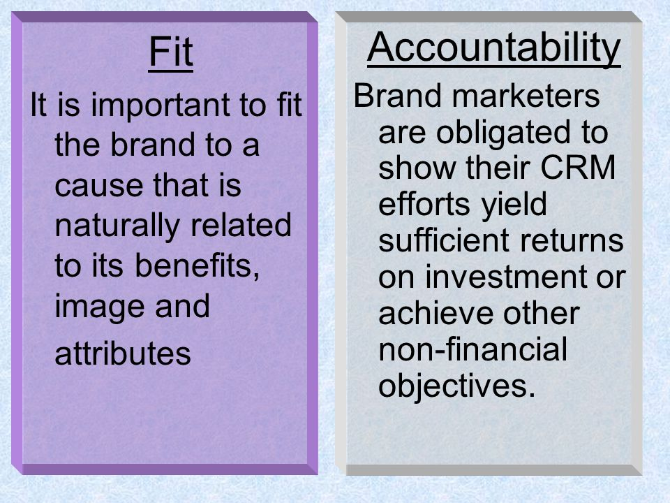 Fit It is important to fit the brand to a cause that is naturally related to its benefits, image and attributes Accountability Brand marketers are obligated to show their CRM efforts yield sufficient returns on investment or achieve other non-financial objectives.