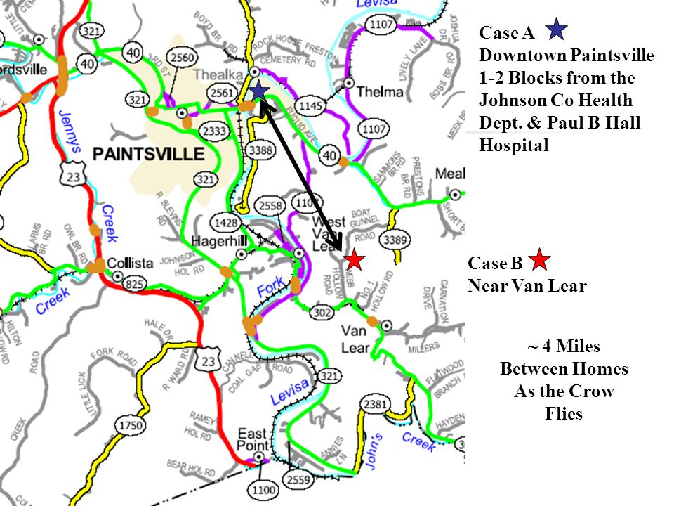 Case A Downtown Paintsville 1-2 Blocks from the Johnson Co Health Dept.