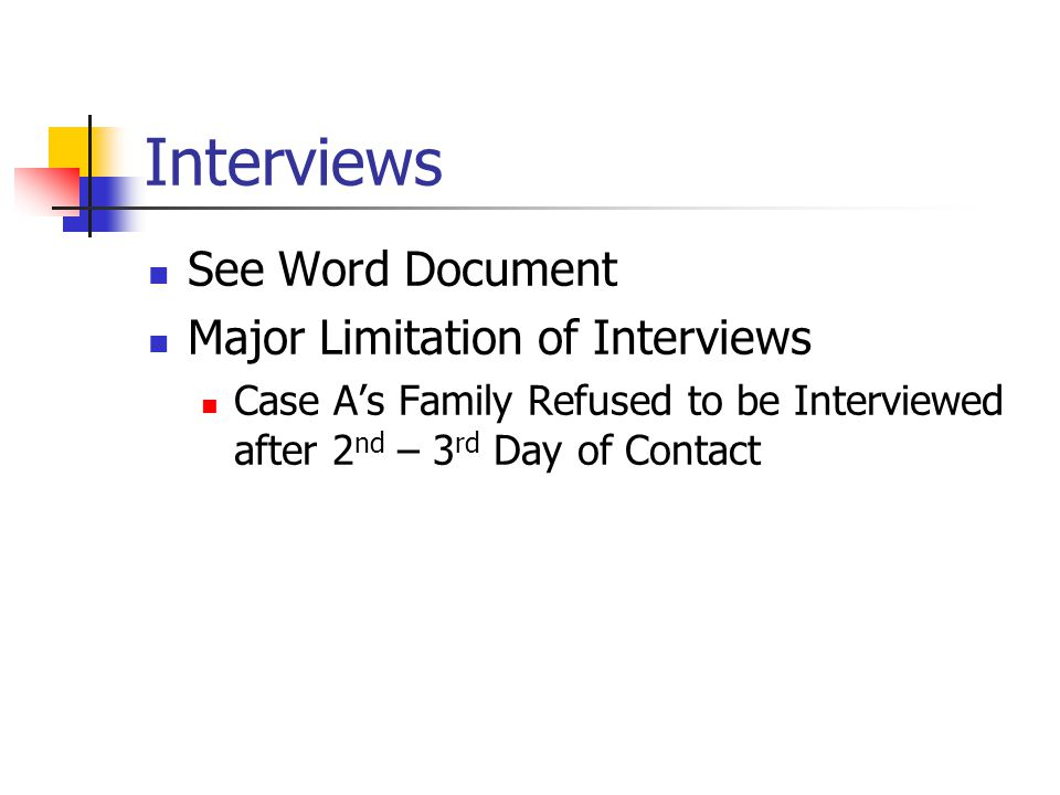 Interviews See Word Document Major Limitation of Interviews Case A's Family Refused to be Interviewed after 2 nd – 3 rd Day of Contact