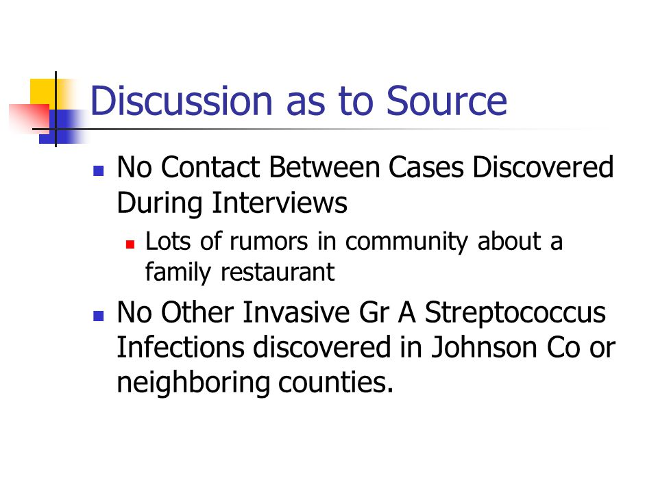 Discussion as to Source No Contact Between Cases Discovered During Interviews Lots of rumors in community about a family restaurant No Other Invasive Gr A Streptococcus Infections discovered in Johnson Co or neighboring counties.