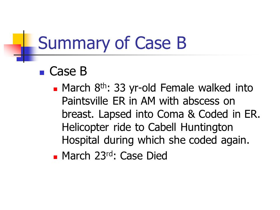 Summary of Case B Case B March 8 th : 33 yr-old Female walked into Paintsville ER in AM with abscess on breast.