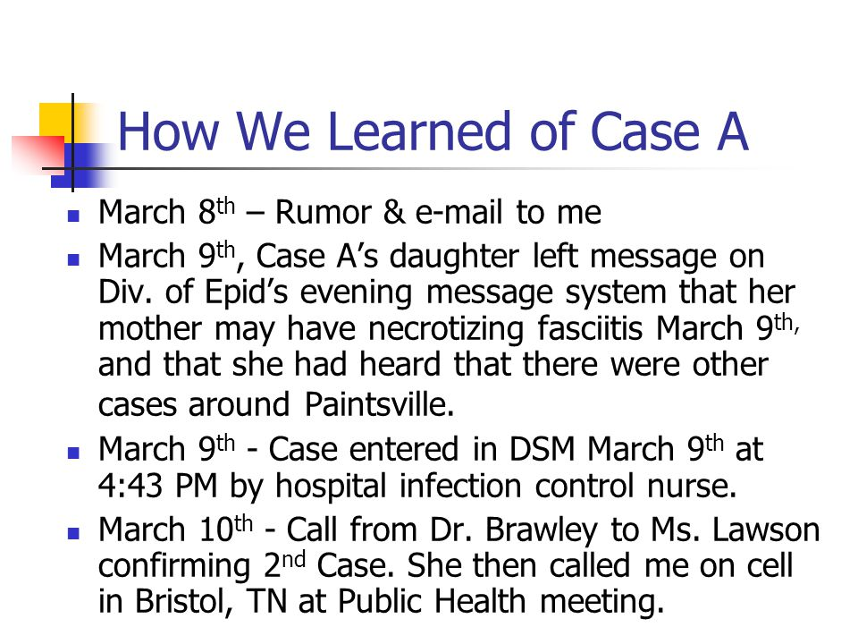 How We Learned of Case A March 8 th – Rumor & e-mail to me March 9 th, Case A's daughter left message on Div.