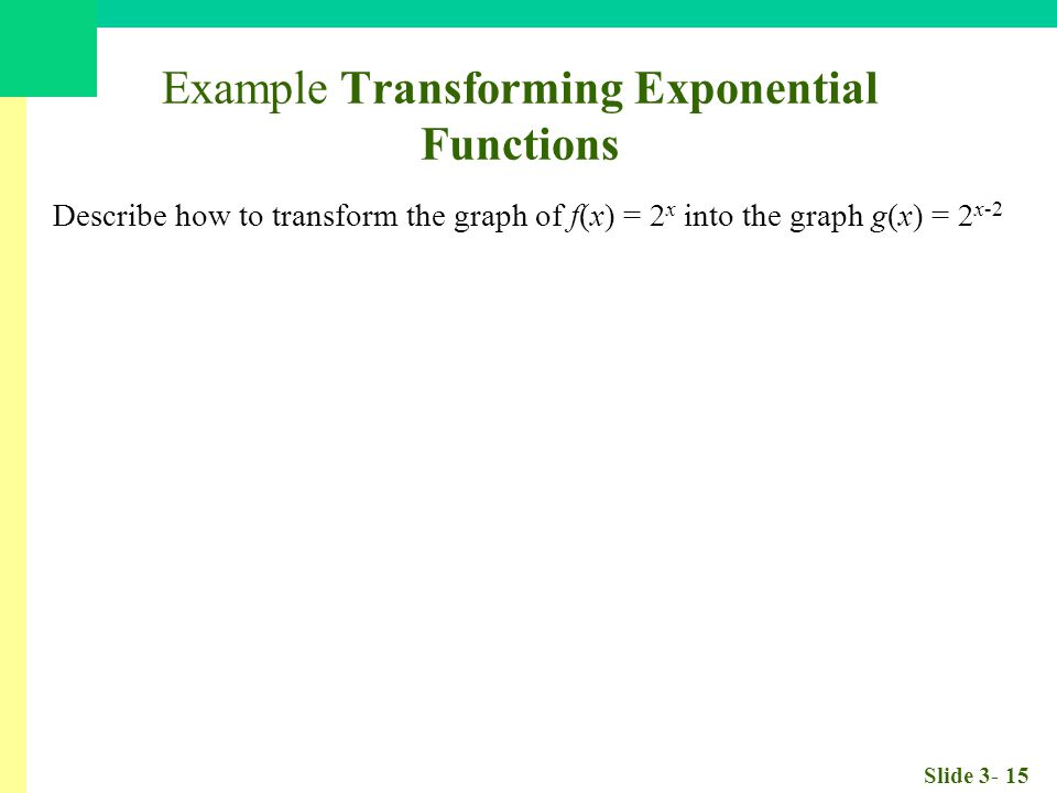 Slide 3- 15 Example Transforming Exponential Functions Describe how to transform the graph of f(x) = 2 x into the graph g(x) = 2 x-2 The graph of g(x) = 2 x-2 is obtained by translat ing the graph of f(x) = 2 x by 2 units to the right.