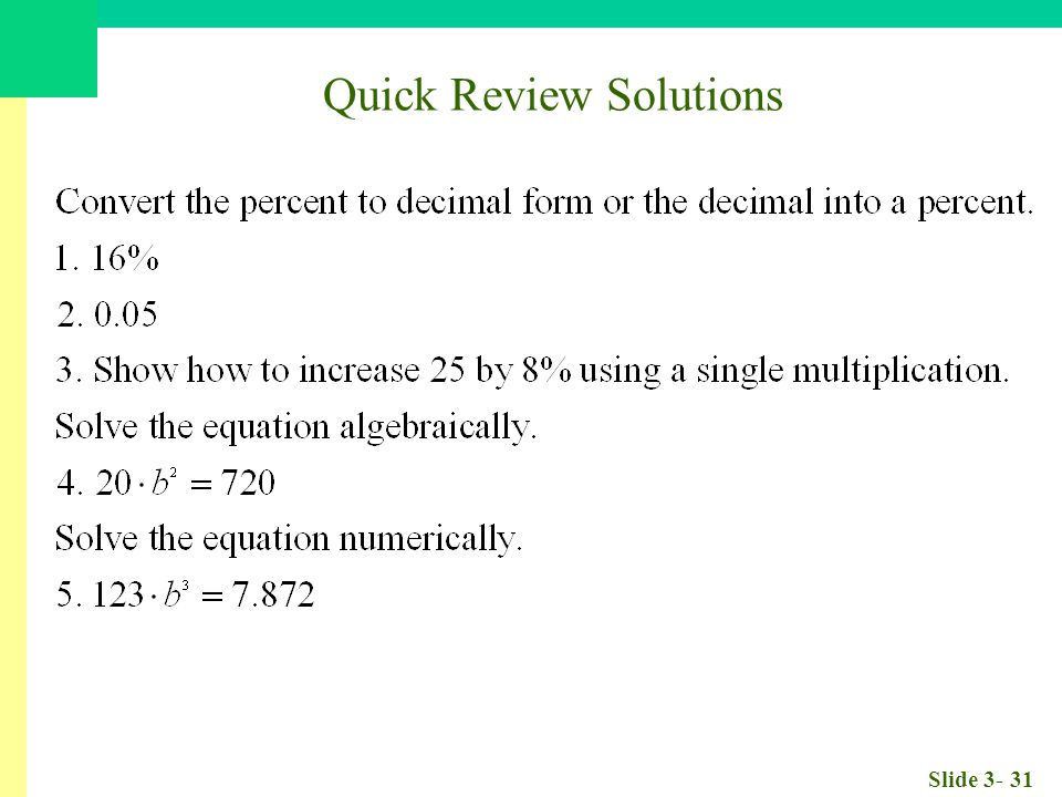 Slide 3- 31 Quick Review Solutions