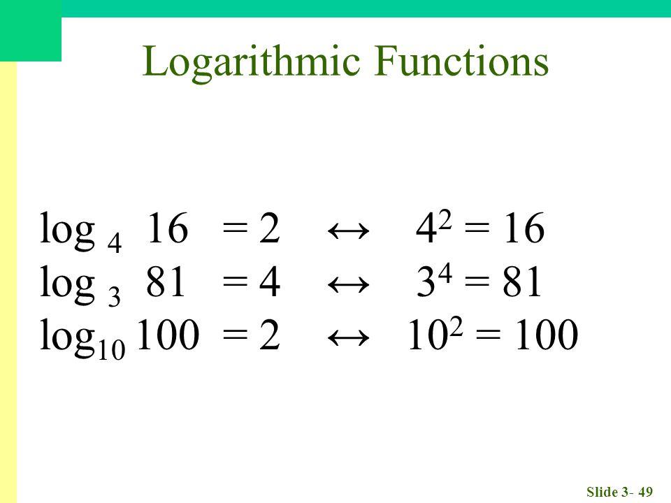 Slide 3- 49 Logarithmic Functions log 4 16 = 2 ↔ 4 2 = 16 log 3 81 = 4 ↔ 3 4 = 81 log 10 100 = 2 ↔ 10 2 = 100
