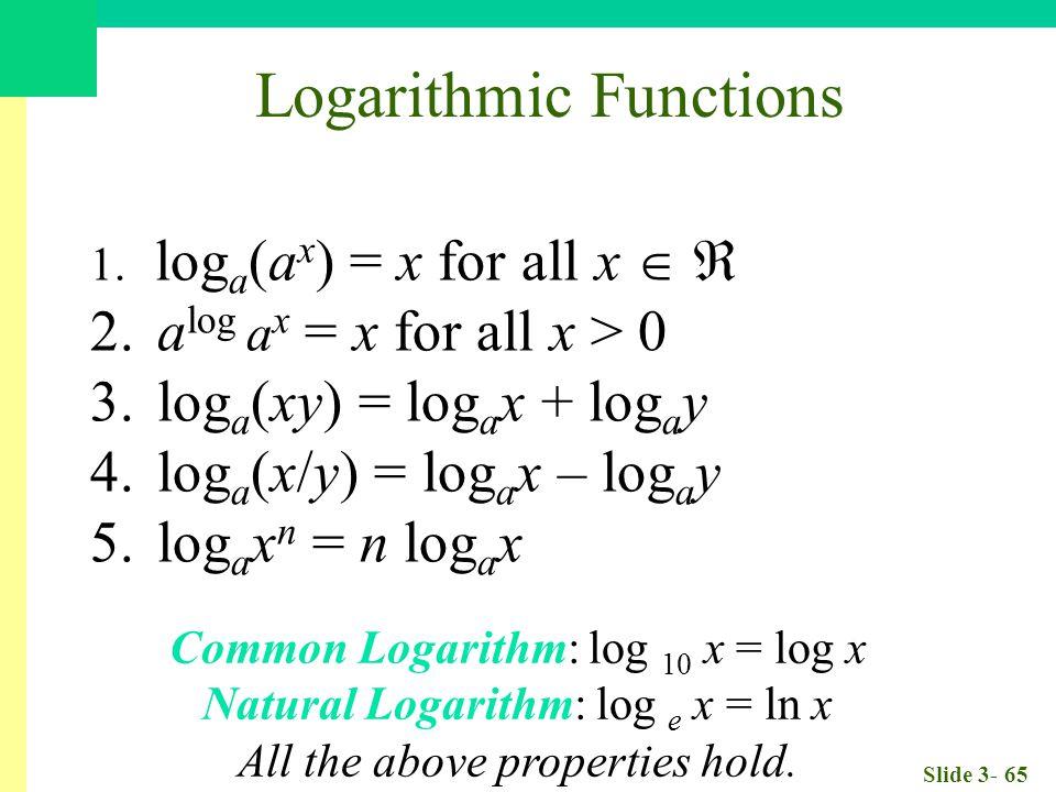 Slide 3- 65 1. log a (a x ) = x for all x   2. a log a x = x for all x > 0 3.