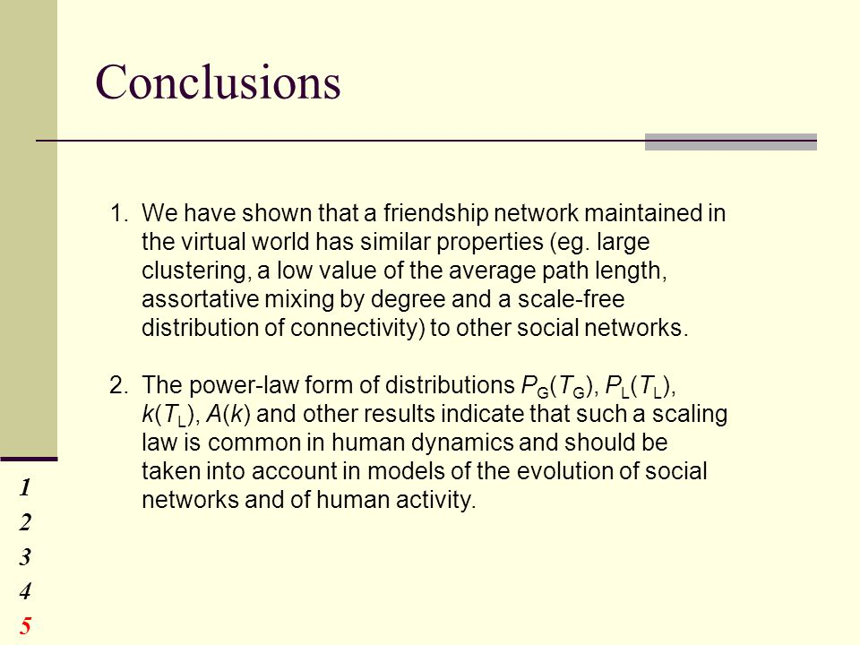 Conclusions 1234512345 1.We have shown that a friendship network maintained in the virtual world has similar properties (eg.