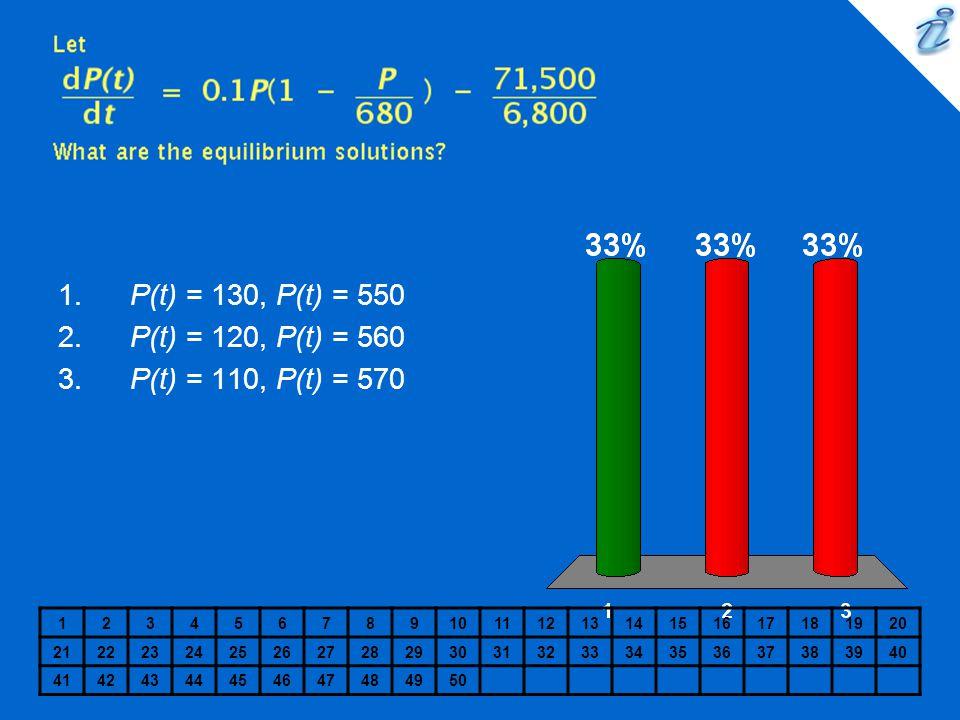 1234567891011121314151617181920 2122232425262728293031323334353637383940 41424344454647484950 1. P(t) = 130, P(t) = 550 2. P(t) = 120, P(t) = 560 3. P
