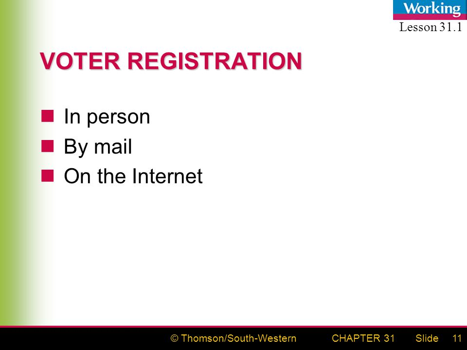 © Thomson/South-WesternSlideCHAPTER 3111 VOTER REGISTRATION In person By mail On the Internet Lesson 31.1