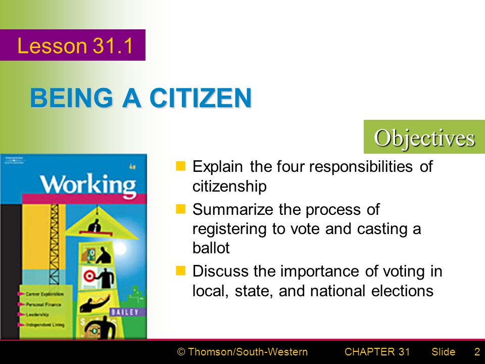 © Thomson/South-WesternSlideCHAPTER 312 BEING A CITIZEN Explain the four responsibilities of citizenship Summarize the process of registering to vote