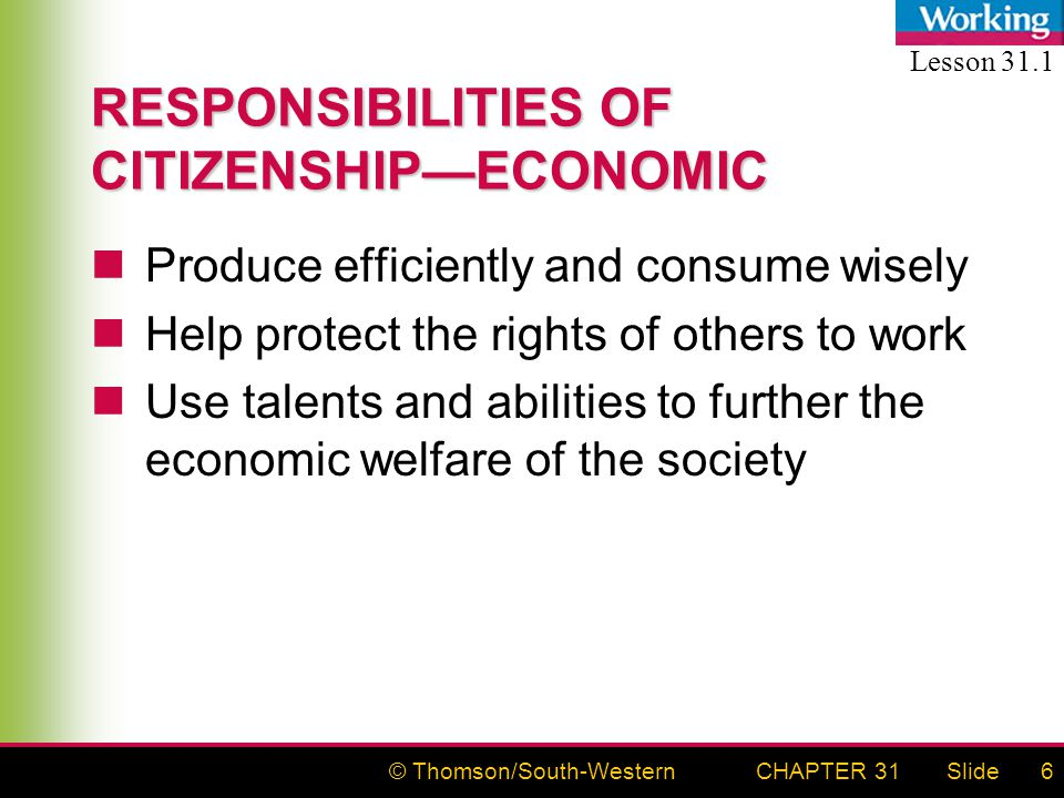 © Thomson/South-WesternSlideCHAPTER 316 RESPONSIBILITIES OF CITIZENSHIP—ECONOMIC Produce efficiently and consume wisely Help protect the rights of oth