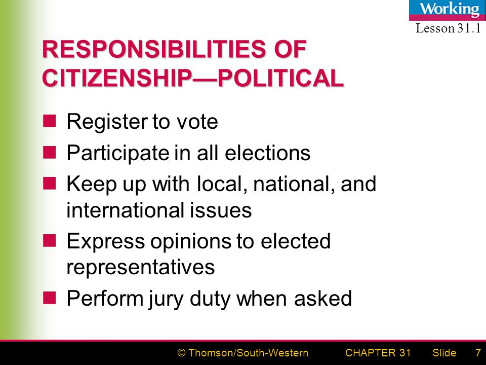 © Thomson/South-WesternSlideCHAPTER 317 RESPONSIBILITIES OF CITIZENSHIP—POLITICAL Register to vote Participate in all elections Keep up with local, na