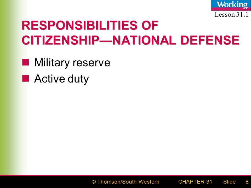 © Thomson/South-WesternSlideCHAPTER 318 RESPONSIBILITIES OF CITIZENSHIP—NATIONAL DEFENSE Military reserve Active duty Lesson 31.1