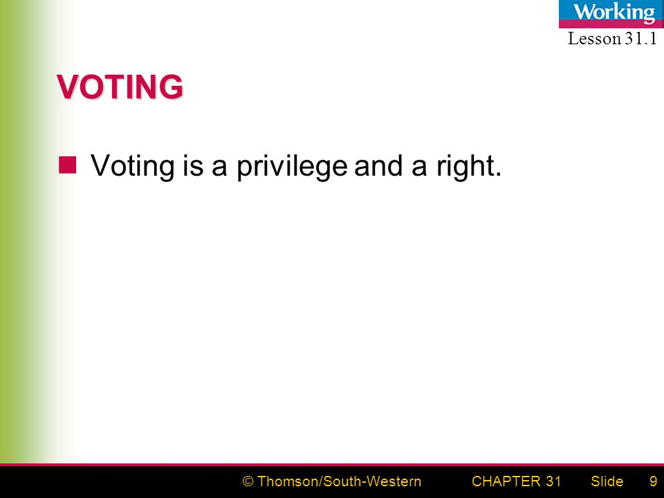 © Thomson/South-WesternSlideCHAPTER 319 VOTING Voting is a privilege and a right. Lesson 31.1