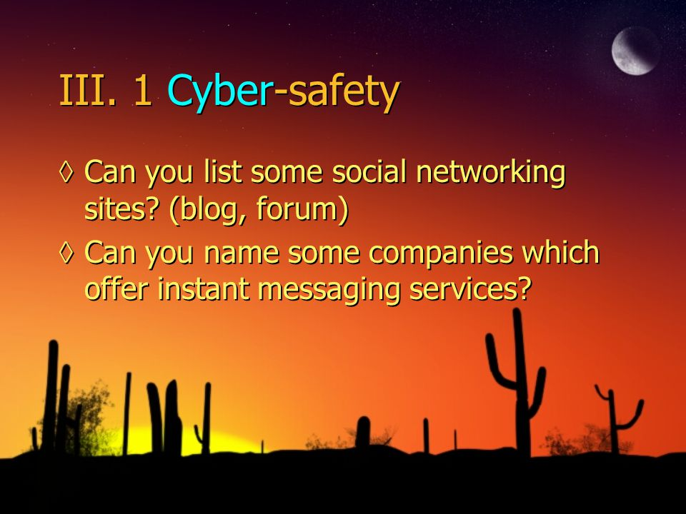 III.1 Cyber-safety ◊Can you list some social networking sites.
