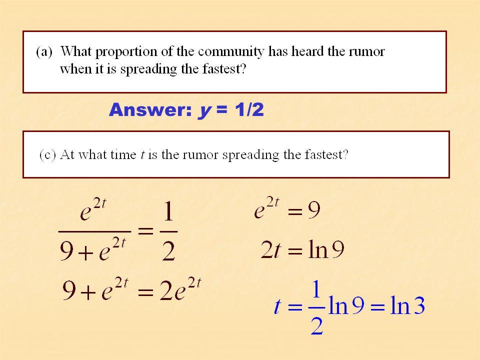 Answer: y = 1/2