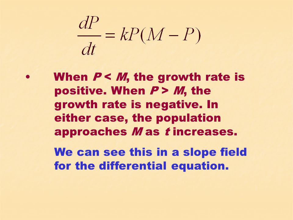 When P M, the growth rate is negative. In either case, the population approaches M as t increases.
