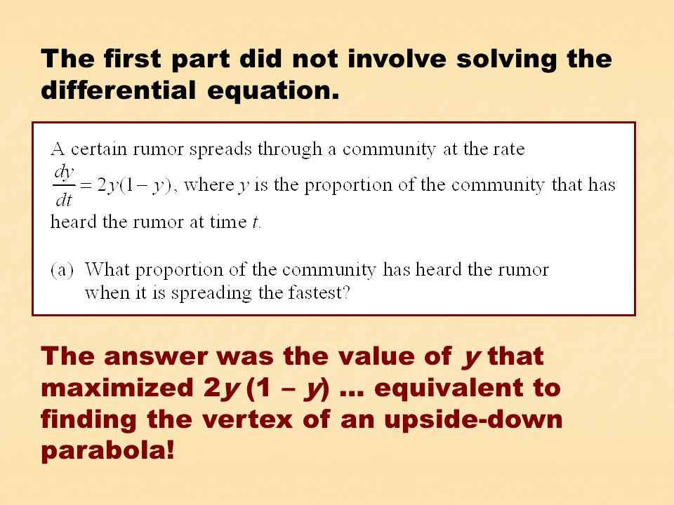 And here's the solution to the initial value problem in (c):