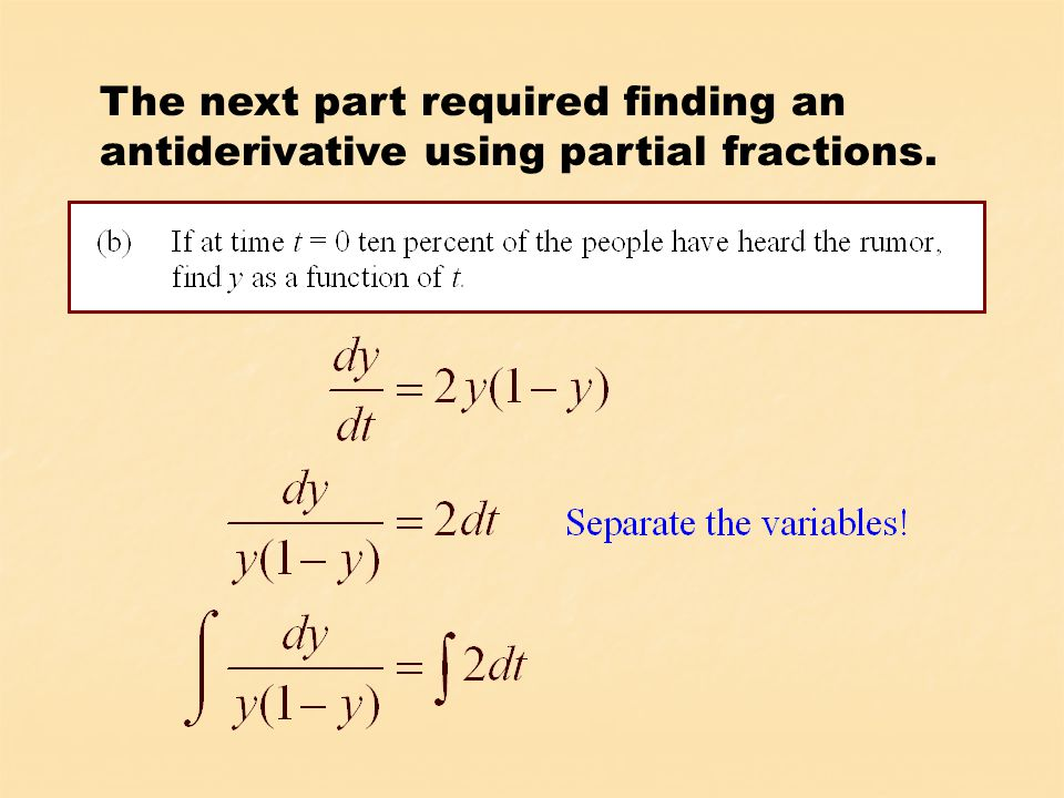 As with the rumor problem, solving a logistic differential equation requires the use of partial fractions.