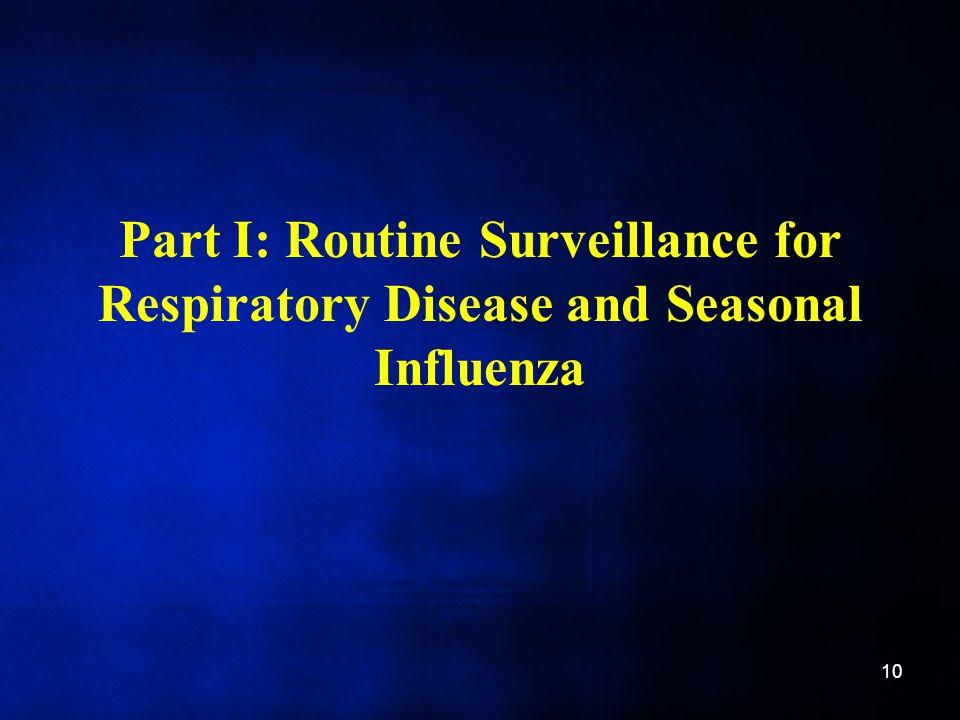 Part I: Routine Surveillance for Respiratory Disease and Seasonal Influenza 10